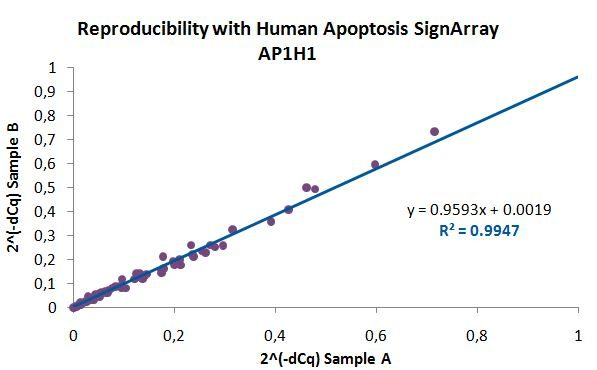 qPCR Array and PCR Array AnyGenes® monitors the reproducibility of their SignArrays with strict quality controls (example with 2 Human Apoptosis SignArrays performed from the same sample).